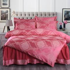 贡缎提花床裙四件套 1.5床 单层 华庭盛典-洋红