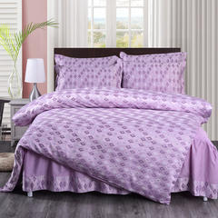 2018新款【夹棉款】真丝绸提花床裙四件套 1.8m(6英尺)床 永恒恋语-粉紫