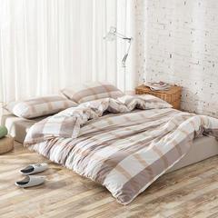 水洗棉花型床单款/床笠款四件套 第二批(拉链款) 1.2m床(三件套需定做) 卡其大格