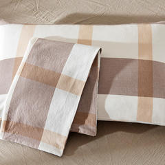 水洗棉花型四件套(单品枕套) 单只 卡其大格(信封枕套)