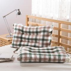 水洗棉枕芯(新花色) 绿彩小格(单只74*48cm)