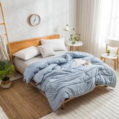 2018新款水洗棉羽丝绒冬被 150x200cm  4.8斤 淡蓝小格