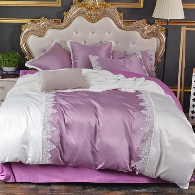欧式蕾丝水洗真丝四件套(实拍图) 抱枕55*55CM 魅力紫