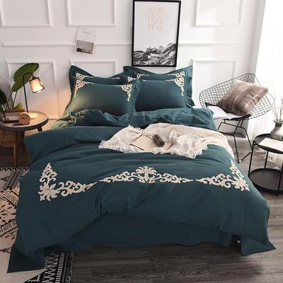 全棉磨毛欧式毛巾绣四件套 1.8m(6英尺)床 幻城-墨绿