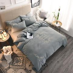 全棉磨毛绳绣+平绣四件套 1.5m(5英尺)床 梦幻巴黎-灰