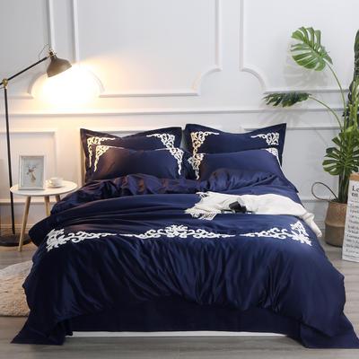 2018新款大版毛巾绣四件套(艾薇儿) 1.5m(5英尺)床 艾薇儿-宝石蓝