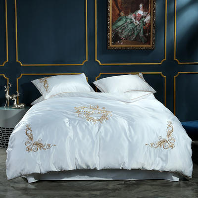 水洗真丝特种绣四件套-米兰(风格1) 1.5m(5英尺)床 白
