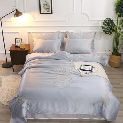 水洗真丝特种绣四件套-米兰(风格2) 1.8m(6英尺)床 银