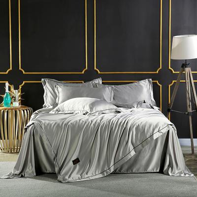 2018巴黎-双面水洗真丝四件套 1.2m(4英尺)床 巴黎-莱安银灰