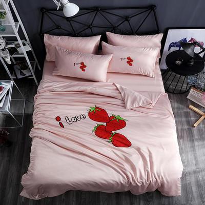 2018新款-网红款水洗真丝四件套 1.2m(4英尺)床 草莓-嫩粉