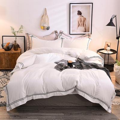 2018加厚水洗磨毛一木阳光四件套 1.5m(5英尺)床 一木阳光-白色