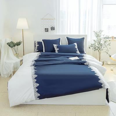 2018新款爱琴海全棉磨毛四件套 1.2m(4英尺)床 爱情海-宝蓝