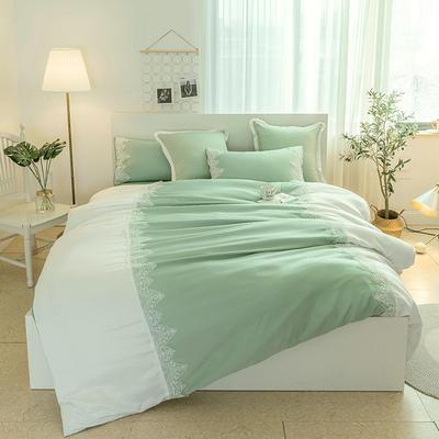 2018新款爱琴海全棉磨毛四件套 1.2m(4英尺)床 爱情海-优雅绿