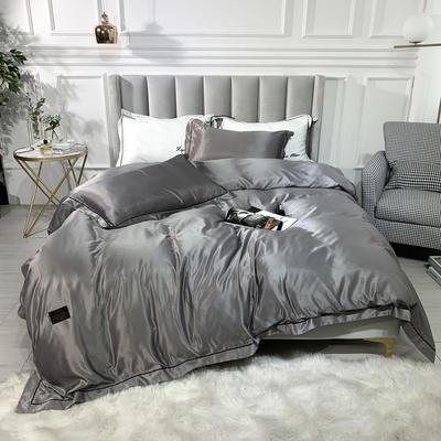2019新款巴黎-双面水洗真丝四件套 1.2m(4英尺)床 银灰