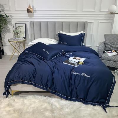 2019新款双面水洗真丝四件套-芳华 1.5m(5英尺)床 宝石蓝