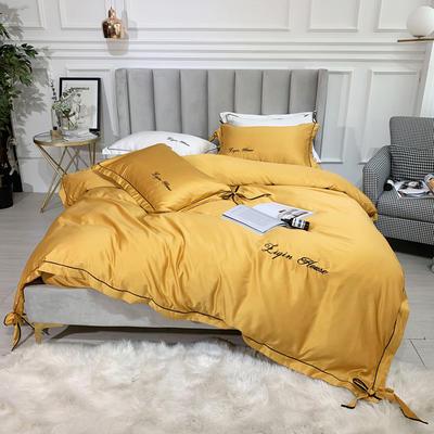 2019新款双面水洗真丝四件套-芳华 1.8m(6英尺)床 至尊黄
