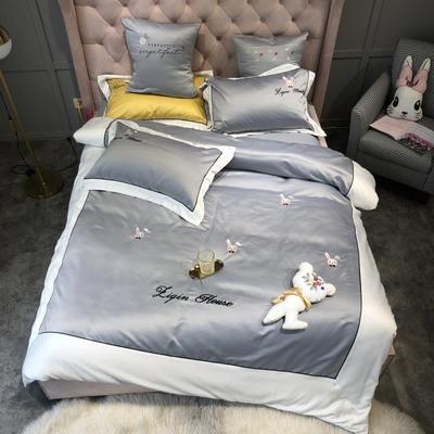 2019新款单面水洗绸缎四件套-兔子先生 1.8m(6英尺)床 兔子先生-炫彩银