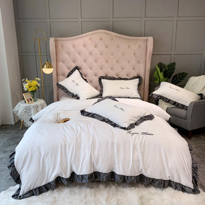 2019新款双面水洗真丝-撞色荷叶边四件套 1.8m床单款 珍珠白
