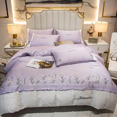 2019新款60长绒棉四件套-薰衣草 1.5m床单款四件套 裸紫