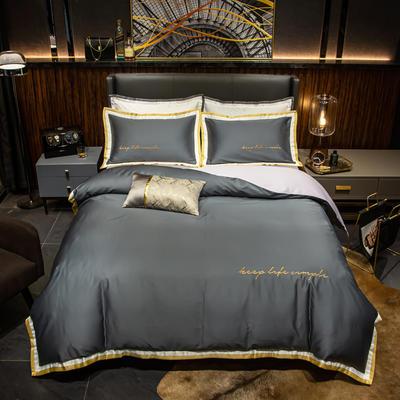 2019新款60长绒棉轻奢酒店风四件套 1.8m床单款 高级灰