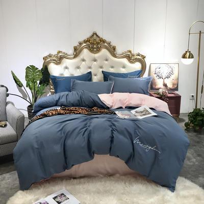 2019新款60双拼全棉磨毛四件套-实拍图 1.2m床单款三件套 双拼-宾利蓝