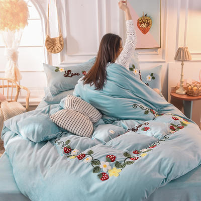 2019新款宝宝绒四件套-一抹草莓 1.5m床单款 格调蓝