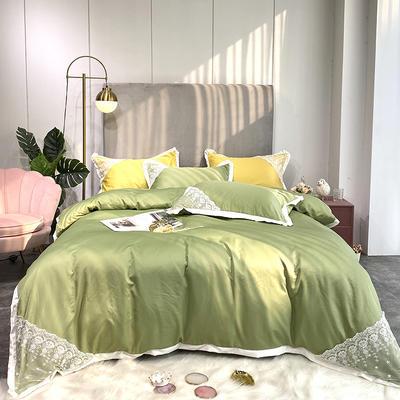 2020新款双面水洗真丝潘多拉系列四件套 1.5m床单款四件套 豆绿