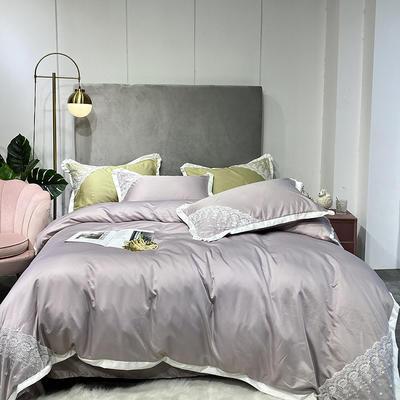 2020新款双面水洗真丝潘多拉系列四件套 1.8m床单款四件套 裸紫