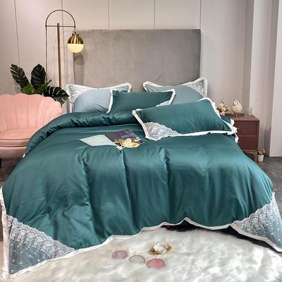 2020新款双面水洗真丝潘多拉系列四件套 1.5m床单款四件套 墨绿