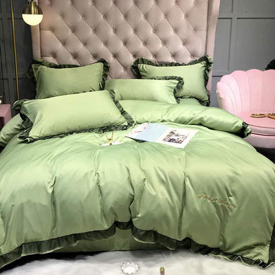 2020新款水洗真丝维纳斯系列四件套(实拍图) 1.5m(5英尺)床单款 豆绿