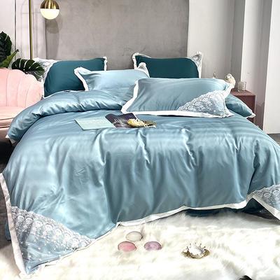2020新款双面水洗真丝潘多拉系列四件套 1.5m床单款四件套 冰河蓝