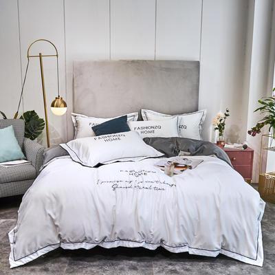 2020新款双面水洗真丝四件套-巴黎之夜 1.5m床单款 珍珠白