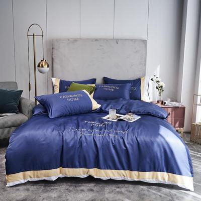 2020新款双面水洗真丝轻奢酒店风系列四件套-休斯顿(实拍) 1.5m床单款四件套 休斯顿-宝蓝