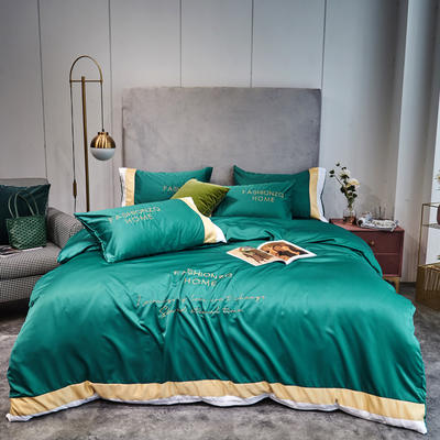 2020新款双面水洗真丝轻奢酒店风系列四件套-休斯顿(实拍) 1.5m床单款四件套 休斯顿-墨绿
