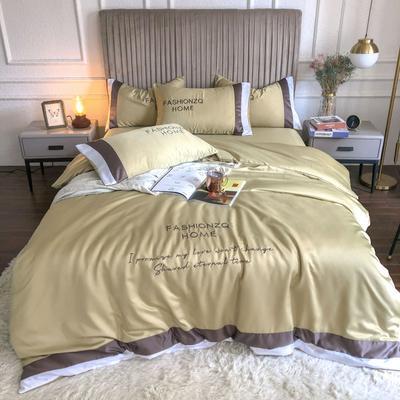 2020新款双面水洗真丝轻奢酒店风系列四件套-休斯顿(影棚图) 1.5m床单款四件套 暗金