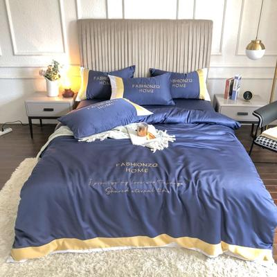 2020新款双面水洗真丝轻奢酒店风系列四件套-休斯顿(影棚图) 1.8m床单款四件套 宝蓝