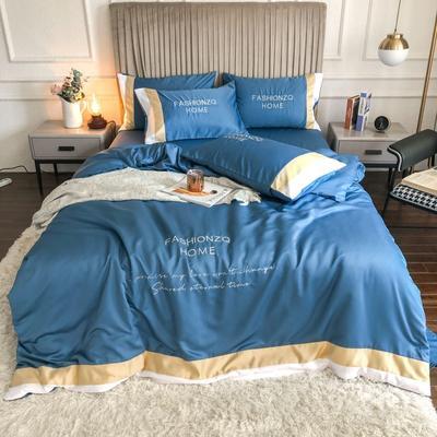 2020新款双面水洗真丝轻奢酒店风系列四件套-休斯顿(影棚图) 1.8m床单款四件套 宾利蓝