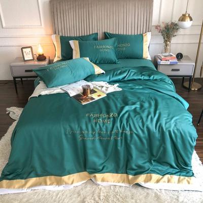2020新款双面水洗真丝轻奢酒店风系列四件套-休斯顿(影棚图) 1.8m床单款四件套 墨绿