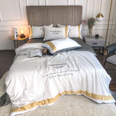 2020新款双面水洗真丝轻奢酒店风系列四件套-休斯顿(影棚图) 1.5m床单款四件套 珍珠白