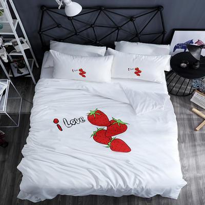 2020新款网红款水洗真丝四件套 1.5m床单款四件套 草莓-珍珠白