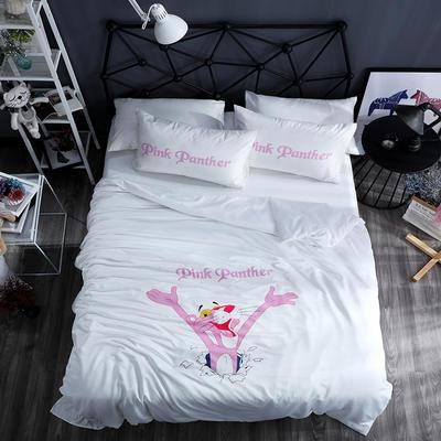 2020新款网红款水洗真丝四件套 1.5m床单款四件套 粉红豹-珍珠白