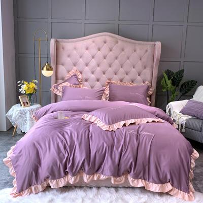 2021新款撞色荷叶边水洗真丝四件套 1.8m床单款四件套 魅力紫