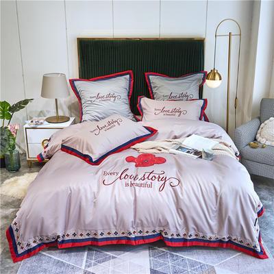 2020新款水洗真丝床单款四件套美丽爱情-实拍 单面1.5m床单款四件套 裸紫