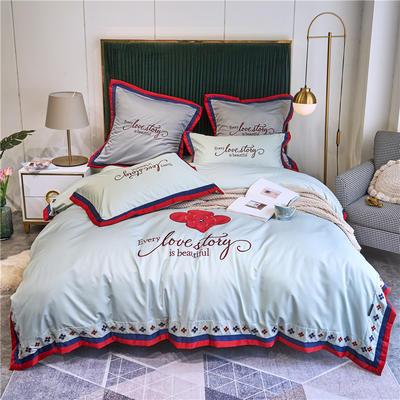 2020新款水洗真丝床单款四件套美丽爱情-实拍 单面1.5m床单款四件套 苹果绿
