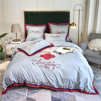 2020新款水洗真丝床单款四件套美丽爱情-实拍 单面1.5m床单款四件套 炫彩银