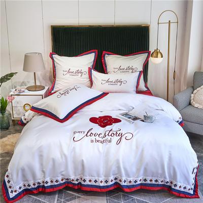2020新款水洗真丝床笠款四件套美丽爱情-实拍 单面1.5m床笠款四件套 白拼红