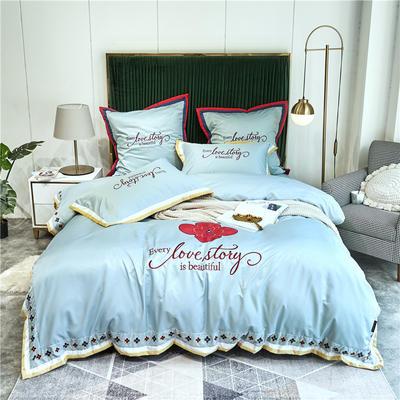 2020新款水洗真丝床笠款四件套美丽爱情-实拍 单面1.5m床笠款四件套 天蓝