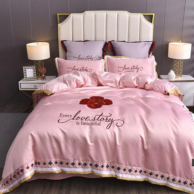 2020新款水洗真丝床单款四件套美丽爱情-棚拍 单面1.5m床单款四件套 淡雅粉
