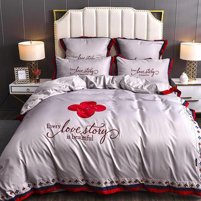 2020新款水洗真丝床单款四件套美丽爱情-棚拍 单面1.5m床单款四件套 裸紫