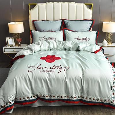 2020新款水洗真丝床单款四件套美丽爱情-棚拍 单面1.5m床单款四件套 苹果绿
